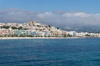 View on the city of Altea with blue domed church along Costa Blanca coast, Spain