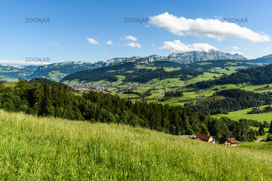 Appenzellerland with view of the Alpstein and the Saentis, Switzerland