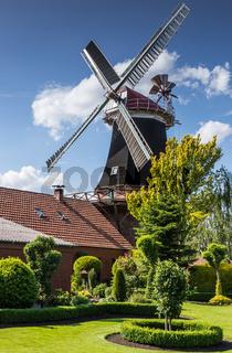 Windmühle Rhaude in grüner Natur an der Niedersächsischen Mühlenstraße Ostfriesland, Deutschland
