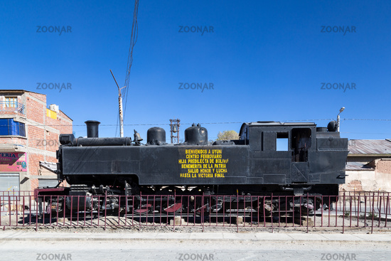 Old Steam Train Locomotive in Uyuni, Bolivia