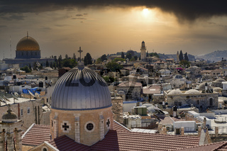 Jerusalem Israel. Dramatic sunset on the old city