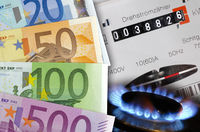 electricity meter and gas flame with euro banknotes