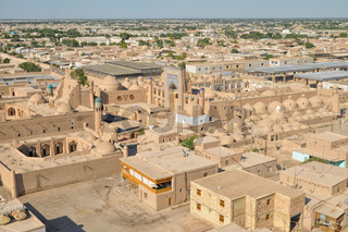 Scenic aerial view of old town in Khiva