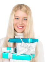 Happy blonde model with gift boxes in Christmas, woman and presents in winter season for shopping sale and holiday brand