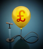 Manual hand pump connected to the inflated yellow balloon with Pound icon. 3D illustration