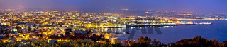 French riviera. Historic town of Antibes coastline panoramic evening view