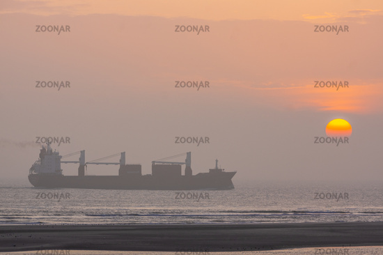 Ship and sunset at the seaside