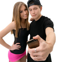 Young modern dance couple making selfie in studio