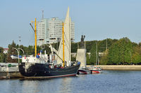 Kaliningrad, Russia - September 30, 2020: average fishing trawler stands on the roadstead of the world ocean Museum