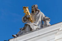 Statue on St. Stephen's Cathedral (Dom St. Stephan) in Passau, Bavaria, Germany