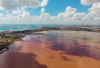 Las Salinas salt pink lake of Torrevieja, aerial view, Spain