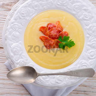 potato cream soup with chorizo and garlic