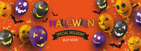 Halloween Special Discount Balloons Faces White Header