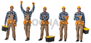 Manual worker with tools isolated on white