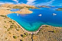 Kornati islands national park. Unique stone desert islands in Mediterranean archipelago aerial view