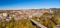 Aerial drone panorama of the downtown area of Morgantown, West Virginia
