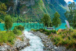 Norway fjord camping landscape