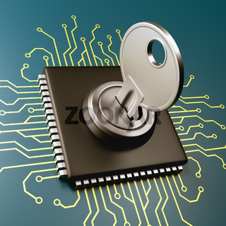 Computer Processor with Key 3D Illustration