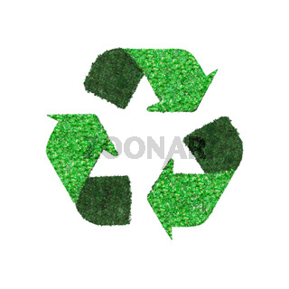 Recycling circle made of green tree leaves isolated on white background