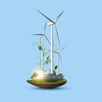 Wind turbines and solar panels as alternative renewable energy.