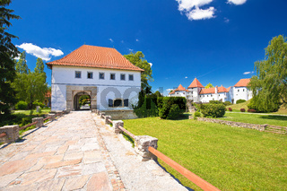 Varazdin. Old town gate of Varazdin park and landmarks view