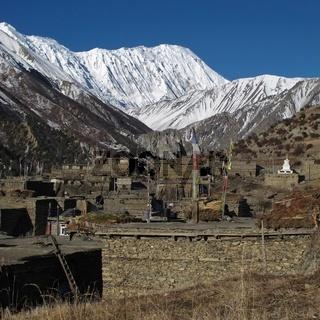 Village Khangsar and Tilicho Peak, Nepal