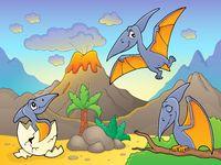 Pterodactyls near volcano image 1