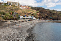 Rocks and pebbles beach near Canico at Portugese Madeira Island