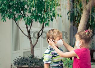 Man wearing facial disposable mask. Virus protection
