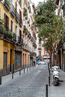 Traditional street in Embajadores area in Lavapies in central Madrid