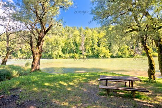 Kupa river resting place and green landscape in Gorski Kotar region of Croatia