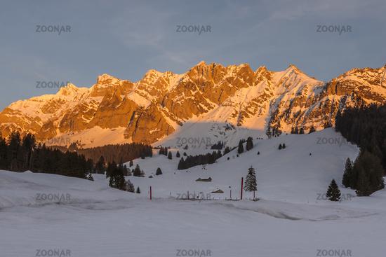 The Saentis massif in evening light, winter landscape, Canton Appenzell Ausserrhoden, Switzerland