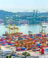 Singapore port containers import export