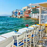 Cafe near houses by the sea in Mykonos