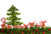 Christmas Tree, Fir Branch, Gifts, Red And Silver Stars, Copy Space