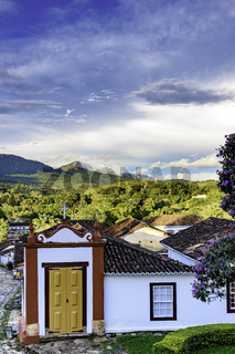 Streets of the old and historic city of Tiradentes with small church