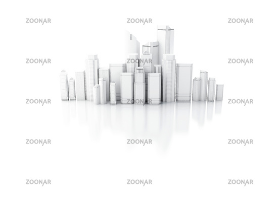 3d render of white city isolated on mirror backgro