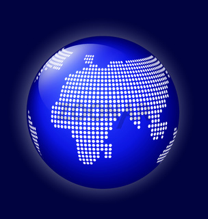 Blue globe with dotted map vector