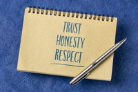 trust, honesty, respect word abstract