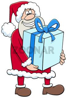 cartoon Santa Claus Christmas character with big present