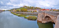 Wurzburg. Main river waterfront and scenic Wurzburg castle and vineyards view