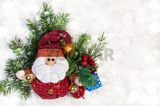 Winter or Christmas composition with Santa Claus.