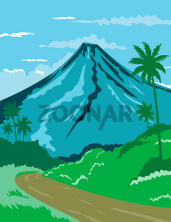 Mayon Volcano or Mount Mayon in the Province of Albay in Bicol Philippines WPA Poster Art Color