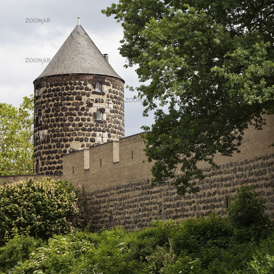 Tower of the Gereons mill with medieval city wall, Cologne, Rhineland, Germany, Europe
