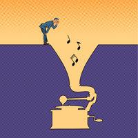 Music. A man listens to an old vinyl gramophone
