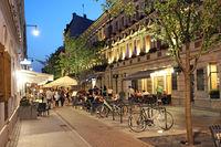 Night city street with bicycles. City bike rental at night. Urban transport. Illumination on night