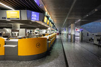 Departure hall Frankfurt Airport deserted
