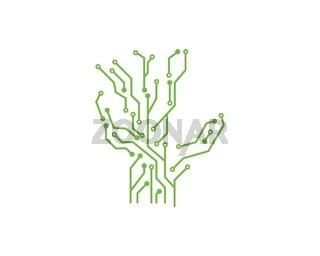 circuit board line hand concept design illustration