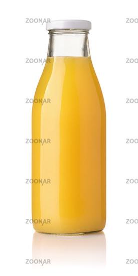Front view of orange juice glass bottle