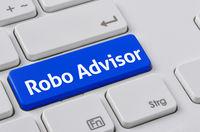 A keyboard with a blue button - Robo Advisor